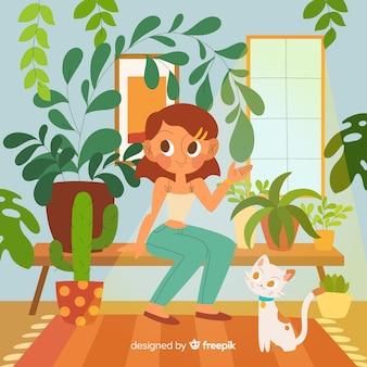 Pessoa, cuidando, plantas