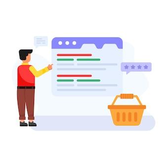 Pessoa dando comentários de compras online ilustração plana