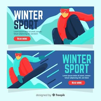 Pessoa de banner de esporte de inverno praticando snowboard