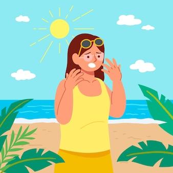 Pessoa de design plano com queimaduras de sol