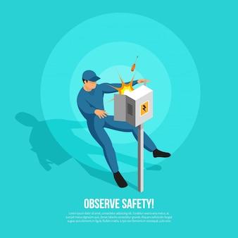 Pessoa de eletricista isométrica com caráter plano de atacante no painel uniforme de energia elétrica e ilustração em vetor texto editável