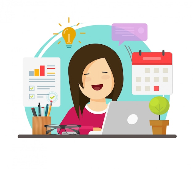 Pessoa de mulher de negócios multitarefa trabalhando duro, mas feliz na mesa da mesa de escritório ou menina sentada sorrindo no local de trabalho fazendo tarefas de pesquisa de auditoria plana dos desenhos animados