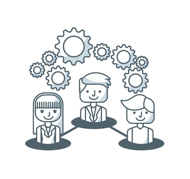 Pessoa de negócios com ícones de linha de conjunto