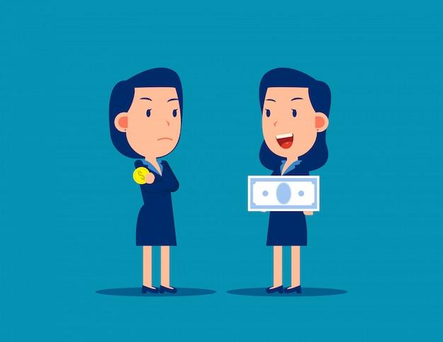 Pessoa de negócios e conceito de salário de emprego. finanças e economia