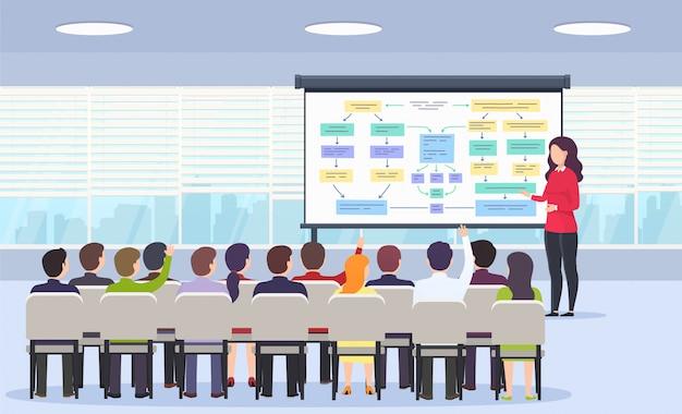 Pessoa de negócios ensina uma palestra sobre estratégia de negócios
