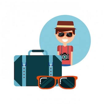 Pessoa de turista com câmera fotográfica