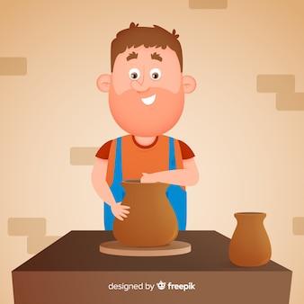 Pessoa desenhada de mão fazendo cerâmica