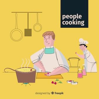 Pessoa desenhada mão cozinhar fundo