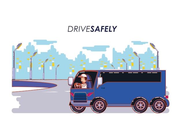 Pessoa dirigindo para motorista com segurança campanha