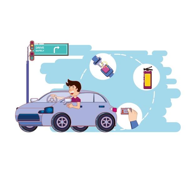 Pessoa dirigindo para motorista com segurança campanha Vetor Premium
