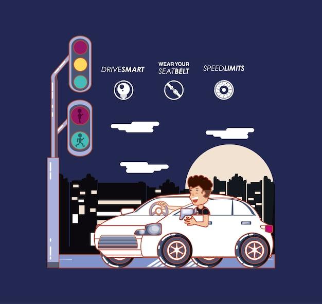 Pessoa dirigindo para motorista com segurança conjunto de ícones de campanha