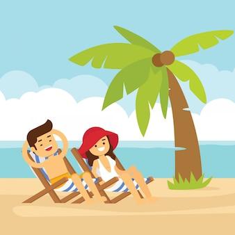 Pessoa do sexo masculino e feminino tem um descanso na praia dos desenhos animados à beira-mar fundo verão férias