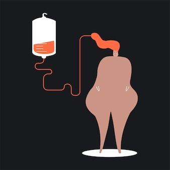 Pessoa, doando, sangue, vetorial, ilustração