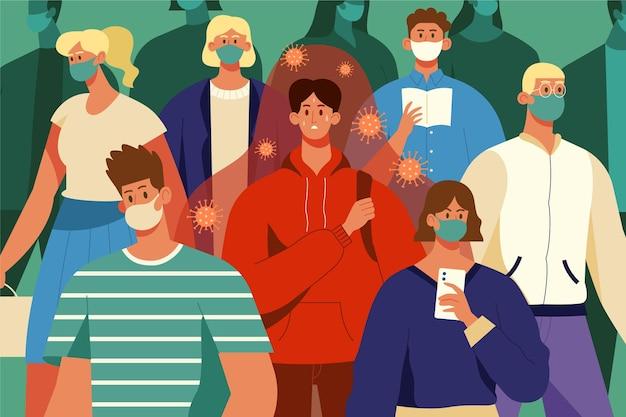 Pessoa doente em uma multidão de pessoas saudáveis