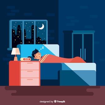 Pessoa dormindo na cama em estilo simples
