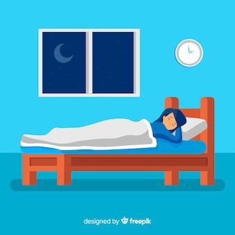 Pessoa, dormir, cama, fundo
