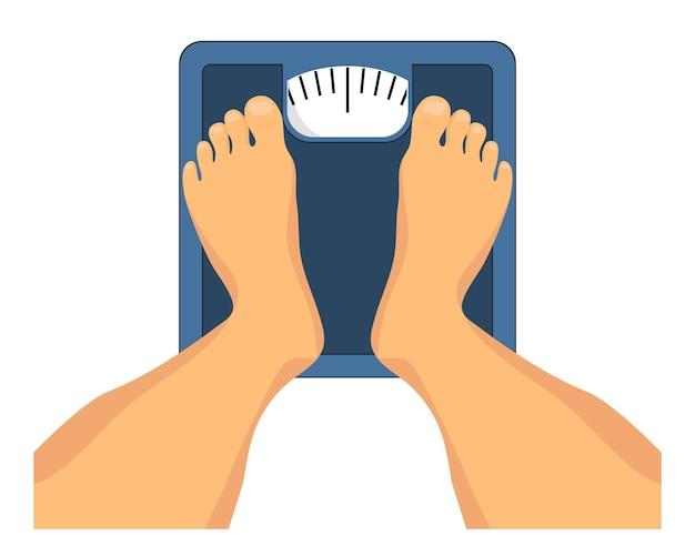 Pessoa em pé em balanças de chão pés em balanças de pesagem vista superior balanças de chão