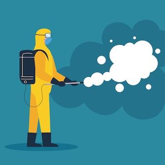 Pessoa em traje de proteção ou roupa, spray para vírus de limpeza e desinfecção, doença secreta 19, medida preventiva