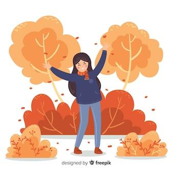 Pessoa, em, um, outono, parque