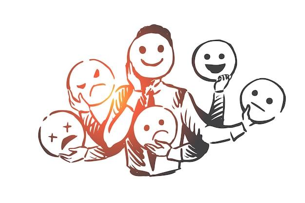 Pessoa, emoções, máscara, rosto, conceito de humor. mão desenhada pessoa muda o esboço do conceito de emoções diferentes.