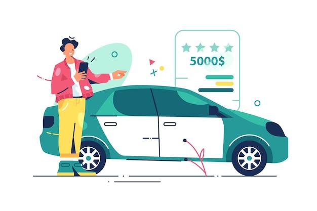 Pessoa escolhe o carro na ilustração da loja