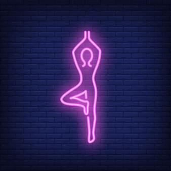 Pessoa, fazendo, ioga, sinal néon