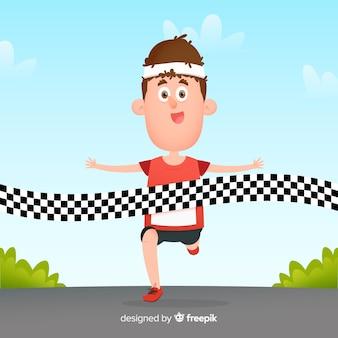 Pessoa, ganhando, maratona, raça