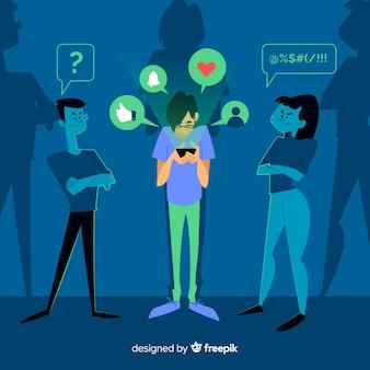 Pessoa, ignorando, amigos, conceito, ilustração