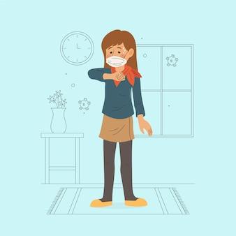 Pessoa ilustrada, tossindo no cotovelo dentro de casa