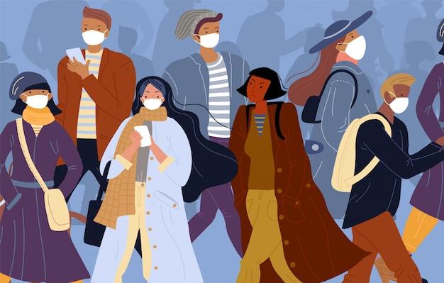 Pessoa infectada entre pessoas saudáveis em máscara facial