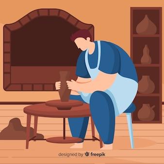 Pessoa, lar, fazendo, cerâmica