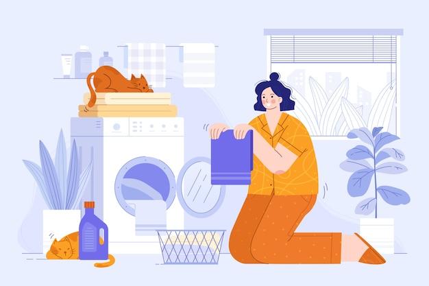 Pessoa lavando roupa ilustração