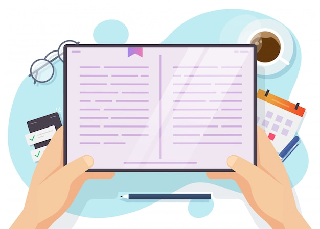 Pessoa, lendo livro digital no computador tablet