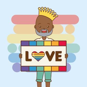Pessoa lgbt com placa de amor