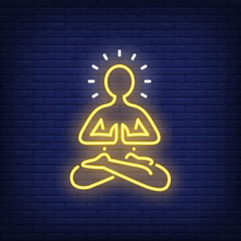 Pessoa, meditar, silueta, sinal néon