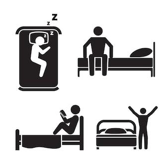 Pessoa na cama, conjunto de ilustração