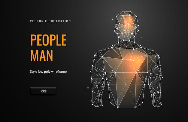 Pessoa no estilo de estrutura de arame poligonal