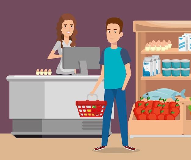 Pessoa no ponto de pagamento do supermercado