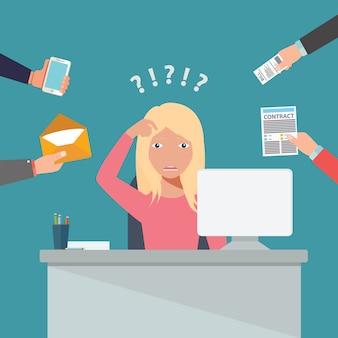 Pessoa, no trabalho, multitarefa