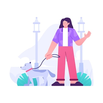 Pessoa passeando com o cachorro design plano