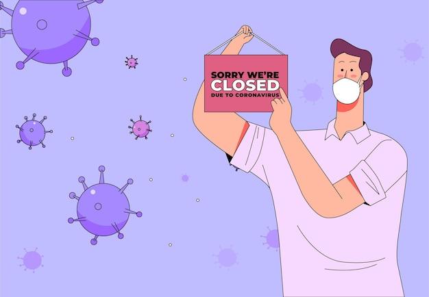Pessoa pendurando uma tabuleta fechada devido à quarentena de coronavírus