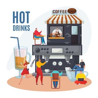 Pessoa perto da máquina de café, menu de bebidas quentes