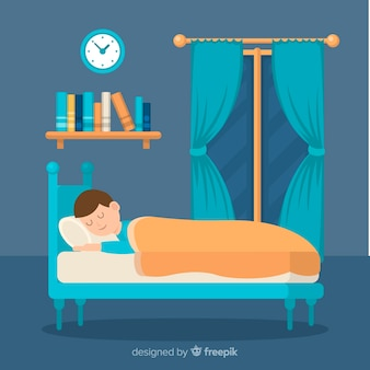 Pessoa plana dormindo na cama