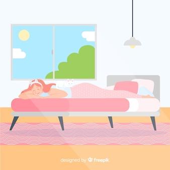 Pessoa plana dormindo no fundo da cama