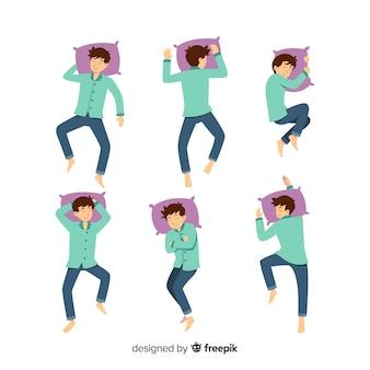 Pessoa plana em diferentes posições de sono