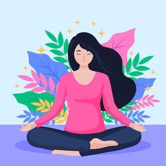 Pessoa plana orgânica meditando em posição de lótus