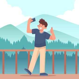 Pessoa plana tirando fotos com smartphone