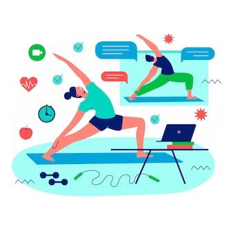 Pessoa que exercita com personal trainer