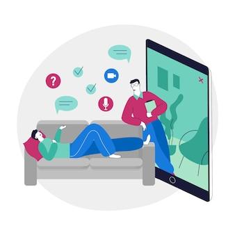 Pessoa que fala com o terapeuta através do aplicativo de chamada de vídeo
