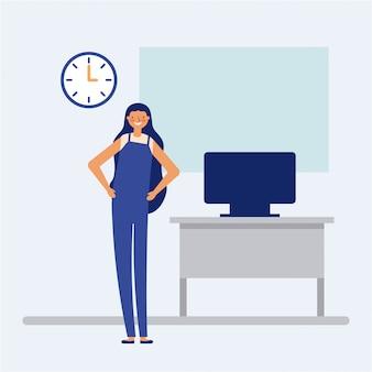 Pessoa que faz uma pausa ativa no escritório, estilo simples